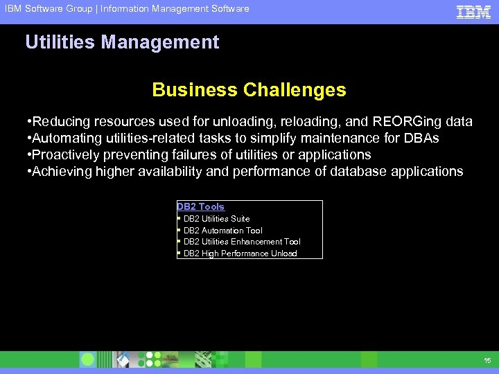 IBM Software Group | Information Management Software Utilities Management Business Challenges • Reducing resources