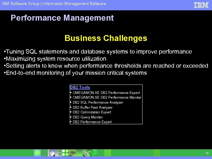 IBM Software Group | Information Management Software Performance Management Business Challenges • Tuning SQL