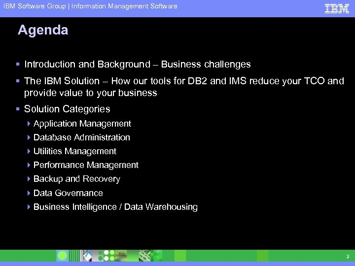IBM Software Group | Information Management Software Agenda § Introduction and Background – Business