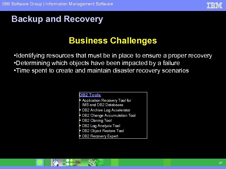 IBM Software Group | Information Management Software Backup and Recovery Business Challenges • Identifying