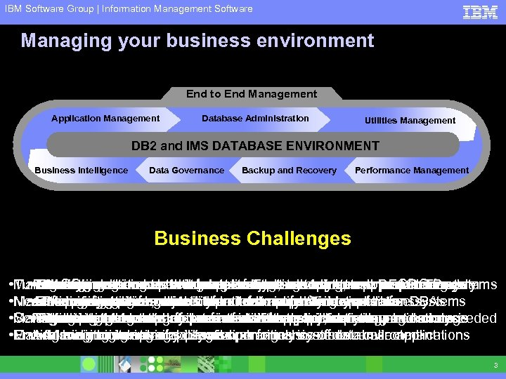 IBM Software Group | Information Management Software Managing your business environment End to End