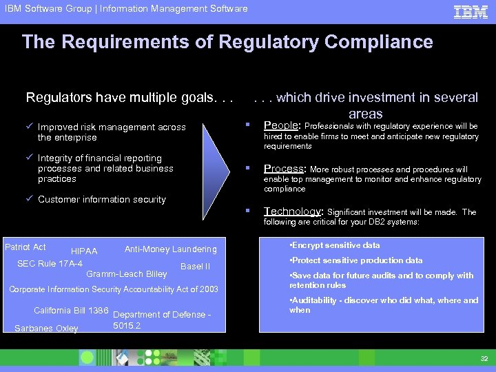 IBM Software Group | Information Management Software The Requirements of Regulatory Compliance Regulators have