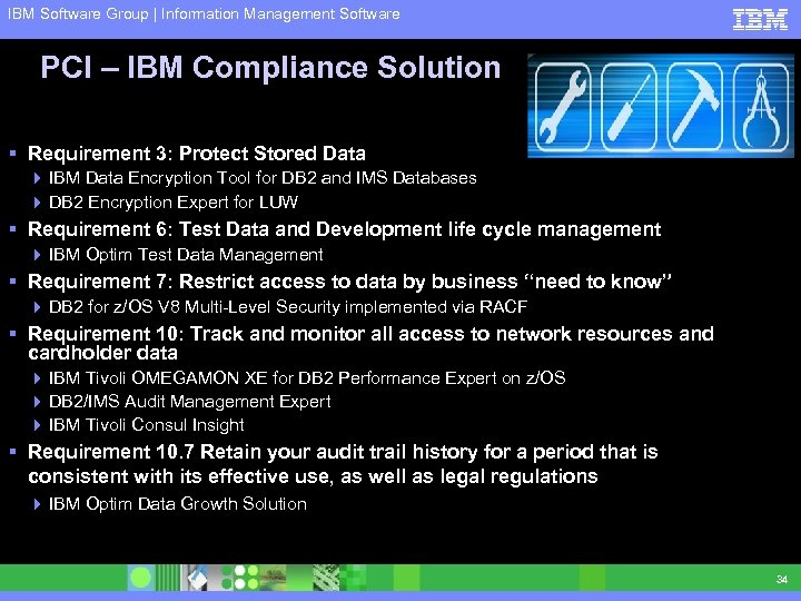 IBM Software Group | Information Management Software PCI – IBM Compliance Solution § Requirement