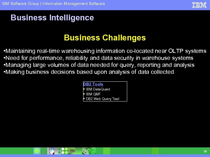 IBM Software Group | Information Management Software Business Intelligence Business Challenges • Maintaining real-time