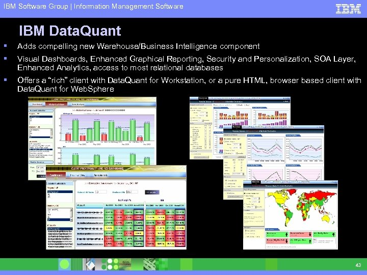IBM Software Group | Information Management Software IBM Data. Quant § Adds compelling new