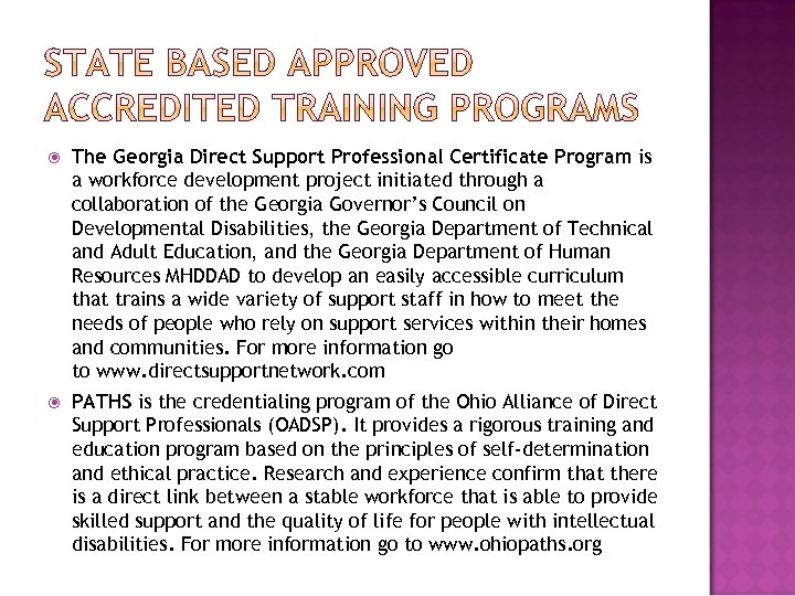 The Georgia Direct Support Professional Certificate Program is a workforce development project initiated