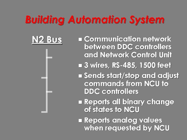 Building Automation System N 2 Bus n Communication network between DDC controllers and Network