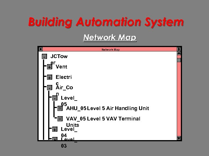 Building Automation System Network Map - JCTow er + Vent + Electri c -