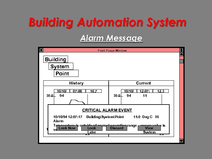 Building Automation System Alarm Message Point Focus Window Building System Point History 30. 0