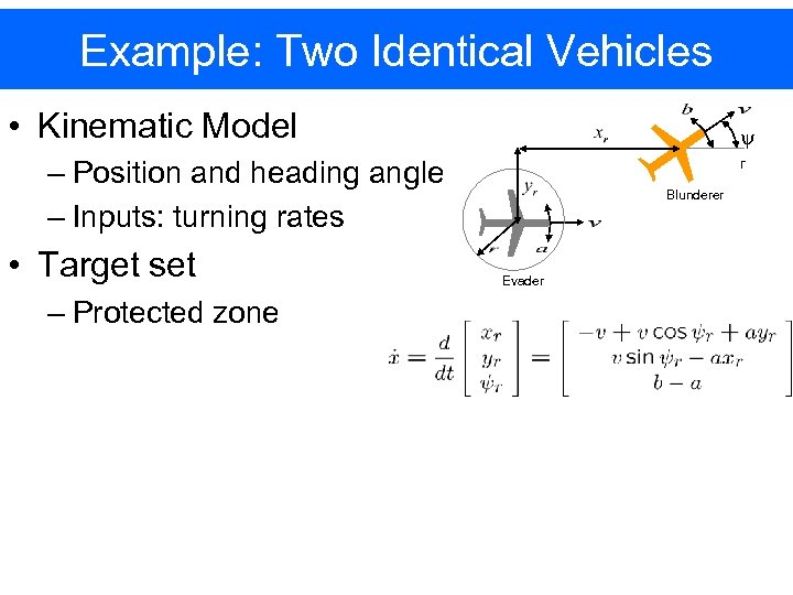 Example: Two Identical Vehicles • Kinematic Model y – Position and heading angle –