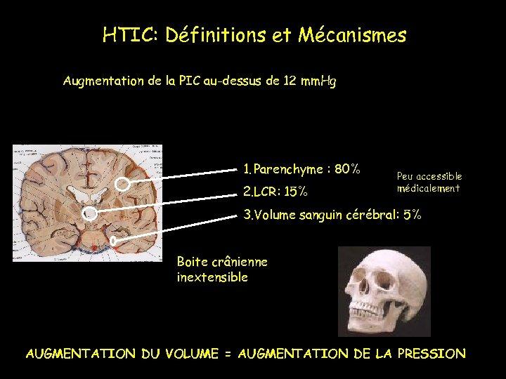 HTIC: Définitions et Mécanismes Augmentation de la PIC au-dessus de 12 mm. Hg 1.