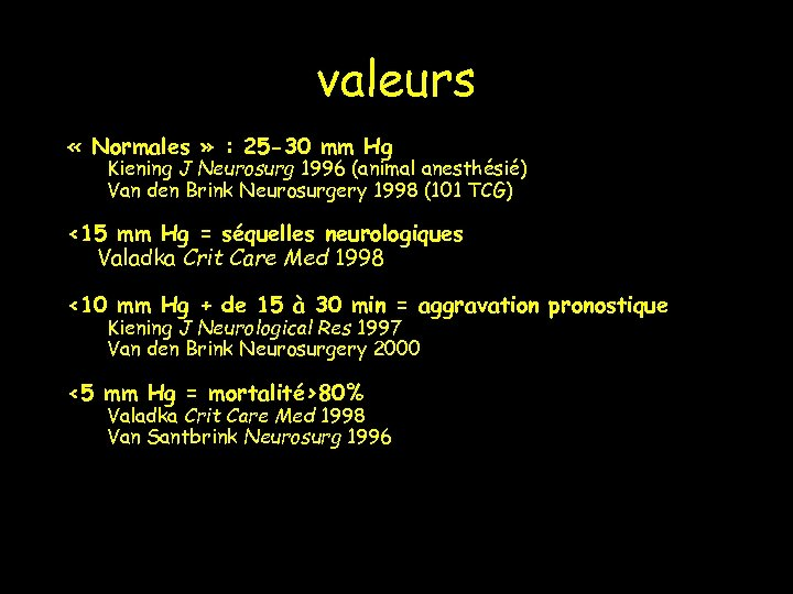 valeurs « Normales » : 25 -30 mm Hg Kiening J Neurosurg 1996 (animal