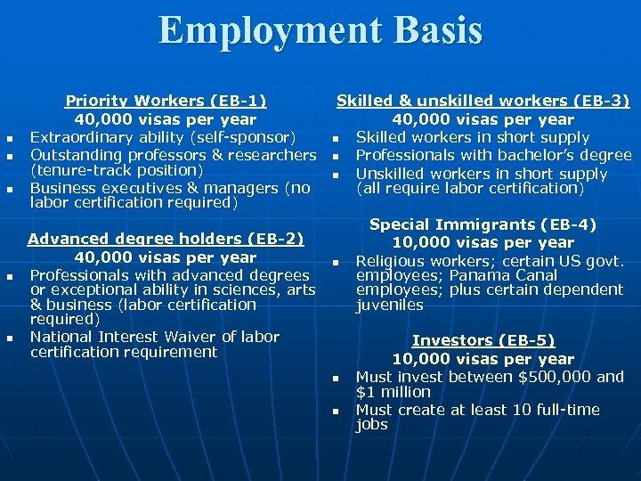Employment Basis n n n Priority Workers (EB-1) 40, 000 visas per year Extraordinary