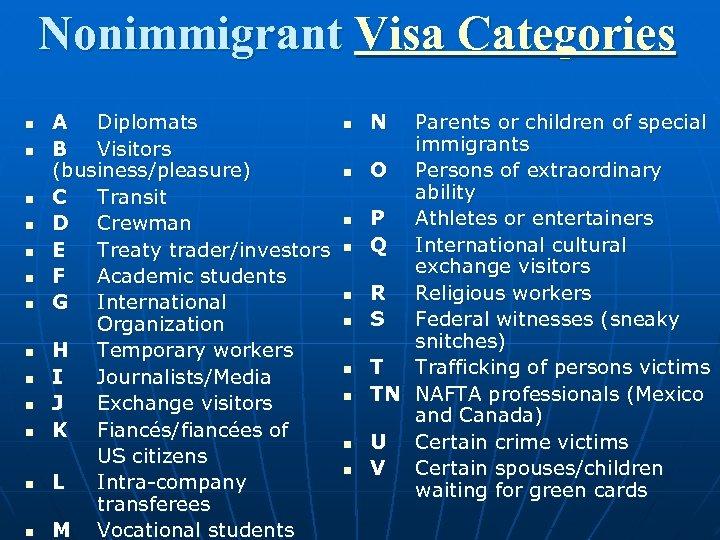 Nonimmigrant Visa Categories n n n n A Diplomats B Visitors (business/pleasure) C Transit