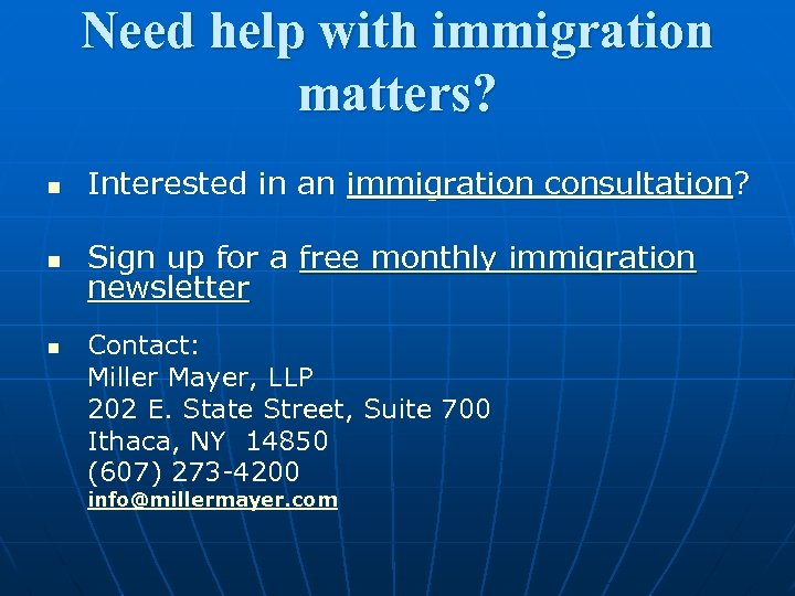 Need help with immigration matters? n Interested in an immigration consultation? n Sign up