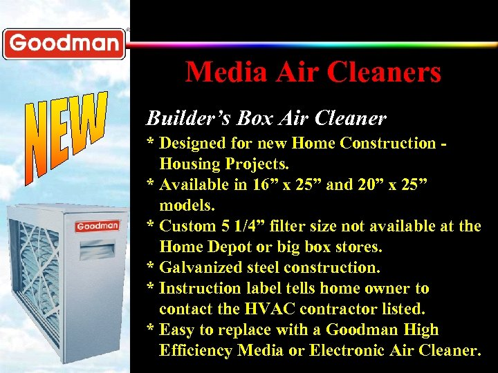Media Air Cleaners Builder's Box Air Cleaner * Designed for new Home Construction Housing