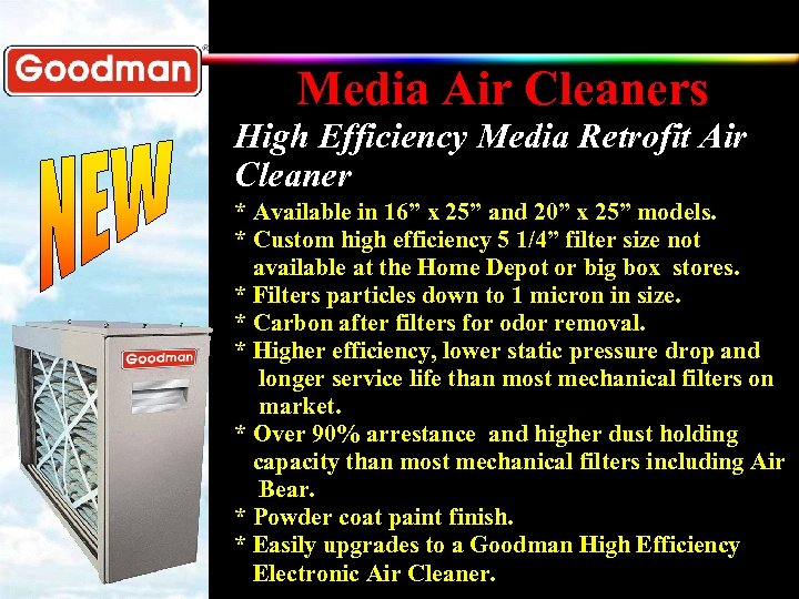 """Media Air Cleaners High Efficiency Media Retrofit Air Cleaner * Available in 16"""" x"""