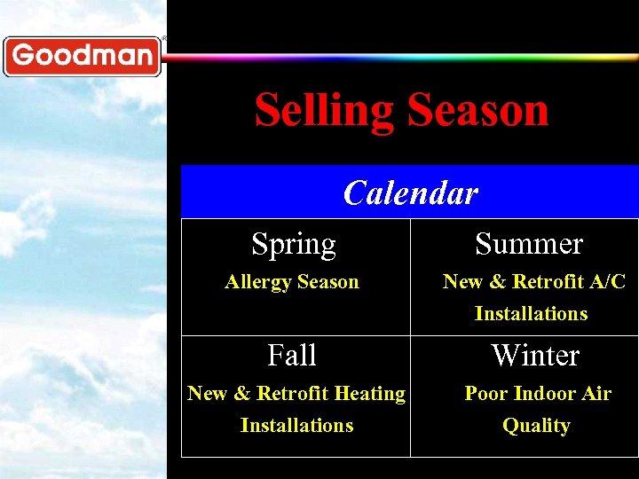 Selling Season Calendar Spring Summer Allergy Season New & Retrofit A/C Installations Fall Winter