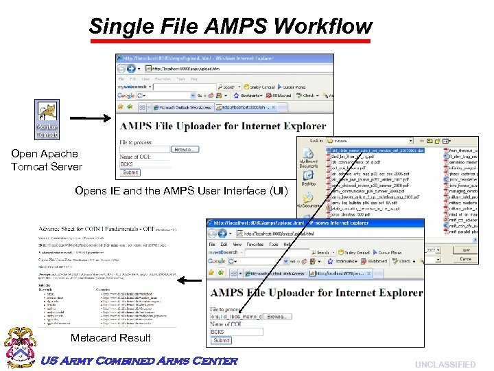 Single File AMPS Workflow Open Apache Tomcat Server Opens IE and the AMPS User