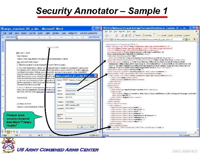 Security Annotator – Sample 1 20 US Army Combined Arms Center UNCLASSIFIED