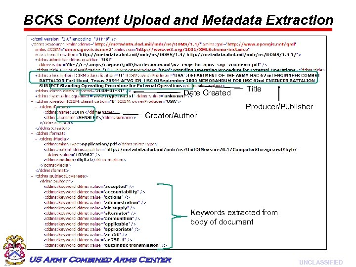 BCKS Content Upload and Metadata Extraction Date Created Title Producer/Publisher Creator/Author Keywords extracted from