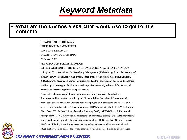 Keyword Metadata • What are the queries a searcher would use to get to