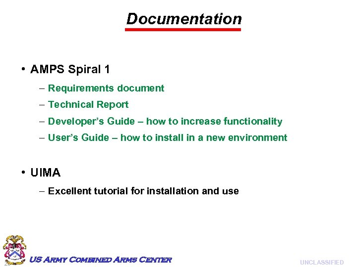 Documentation • AMPS Spiral 1 – Requirements document – Technical Report – Developer's Guide