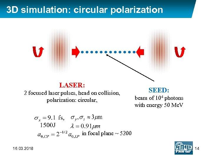 3 D simulation: circular polarization LASER: 2 focused laser pulses, head on collision, polarization: