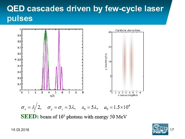QED cascades driven by few-cycle laser pulses SEED: beam of 105 photons with energy