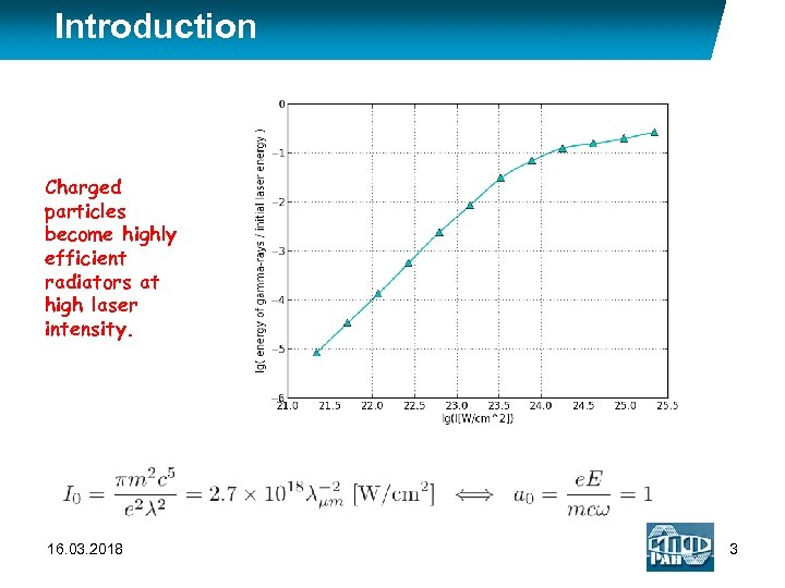 Introduction Charged particles become highly efficient radiators at high laser intensity. 16. 03. 2018