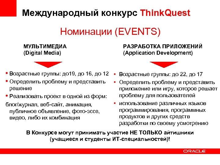 Международный конкурс Think. Quest Номинации (EVENTS) МУЛЬТИМЕДИА (Digital Media) РАЗРАБОТКА ПРИЛОЖЕНИЙ (Application Development) •