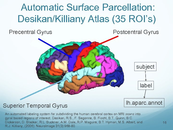 Automatic Surface Parcellation: Desikan/Killiany Atlas (35 ROI's) Precentral Gyrus Postcentral Gyrus subject label Superior