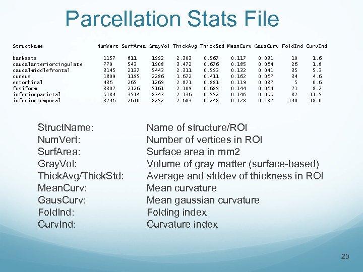 Parcellation Stats File Struct. Name bankssts caudalanteriorcingulate caudalmiddlefrontal cuneus entorhinal fusiform inferiorparietal inferiortemporal Num.