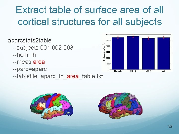 Extract table of surface area of all cortical structures for all subjects aparcstats 2