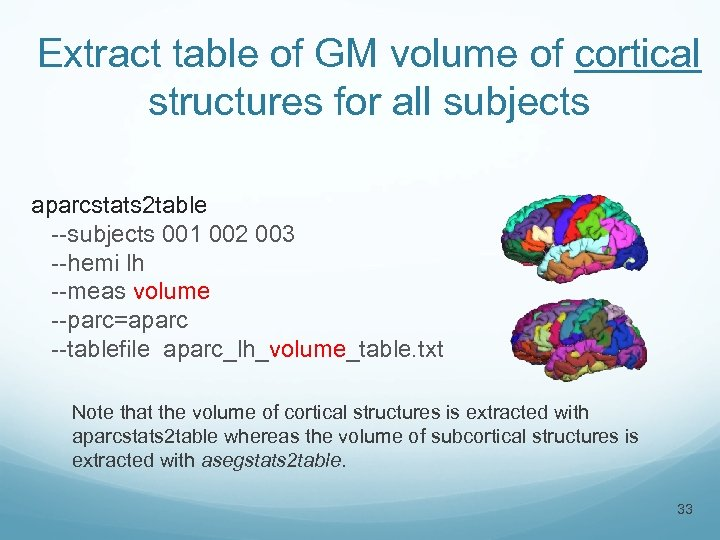 Extract table of GM volume of cortical structures for all subjects aparcstats 2 table