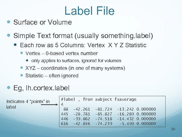 Label File Surface or Volume Simple Text format (usually something. label) Each row as