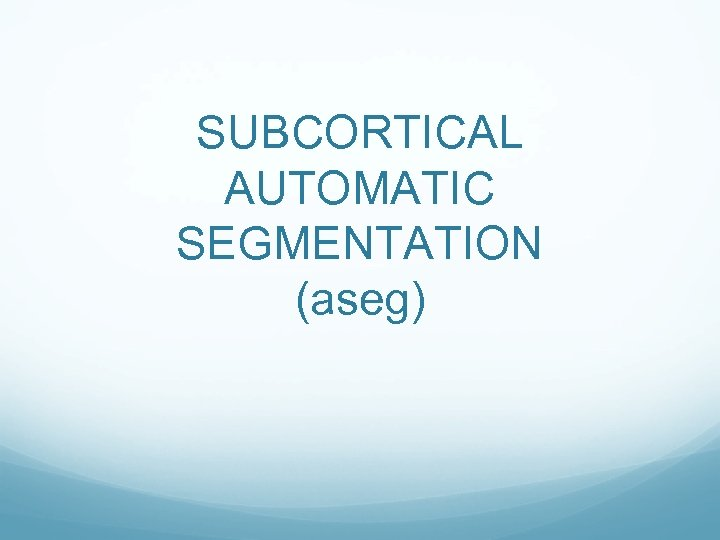 SUBCORTICAL AUTOMATIC SEGMENTATION (aseg)