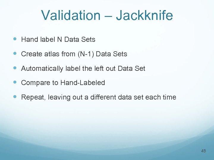 Validation – Jackknife Hand label N Data Sets Create atlas from (N-1) Data Sets