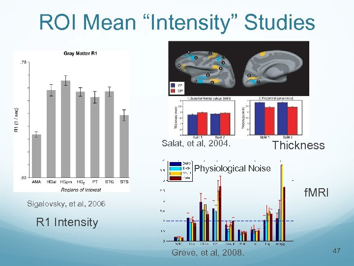 "ROI Mean ""Intensity"" Studies Salat, et al, 2004. Thickness Physiological Noise f. MRI Sigalovsky,"