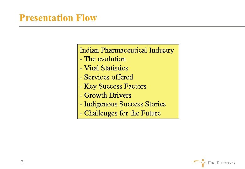 Presentation Flow Indian Pharmaceutical Industry - The evolution - Vital Statistics - Services offered