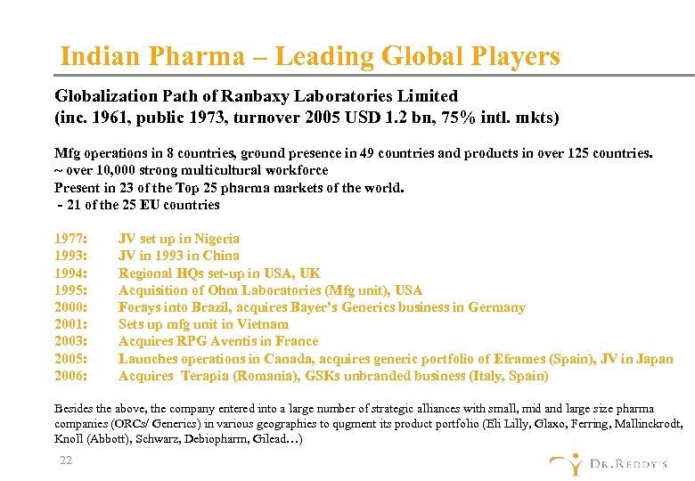 Indian Pharma – Leading Global Players Globalization Path of Ranbaxy Laboratories Limited (inc. 1961,