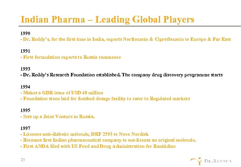 Indian Pharma – Leading Global Players 1990 - Dr. Reddy's, for the first time