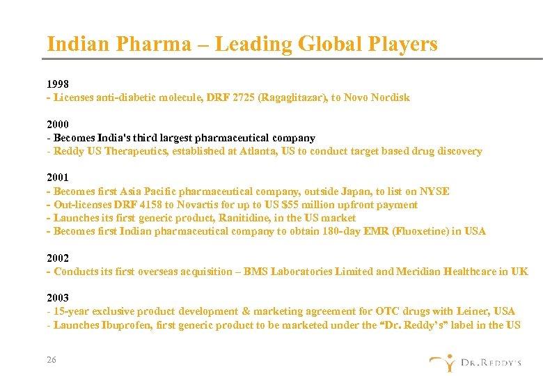 Indian Pharma – Leading Global Players 1998 - Licenses anti-diabetic molecule, DRF 2725 (Ragaglitazar),