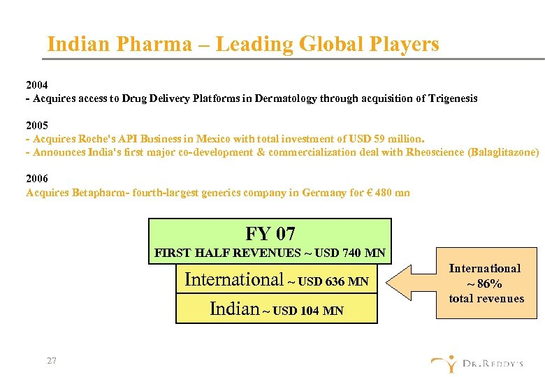 Indian Pharma – Leading Global Players 2004 - Acquires access to Drug Delivery Platforms