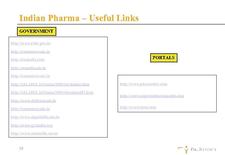 Indian Pharma – Useful Links GOVERNMENT http: //www. cbec. gov. in http: //commerce. nic.