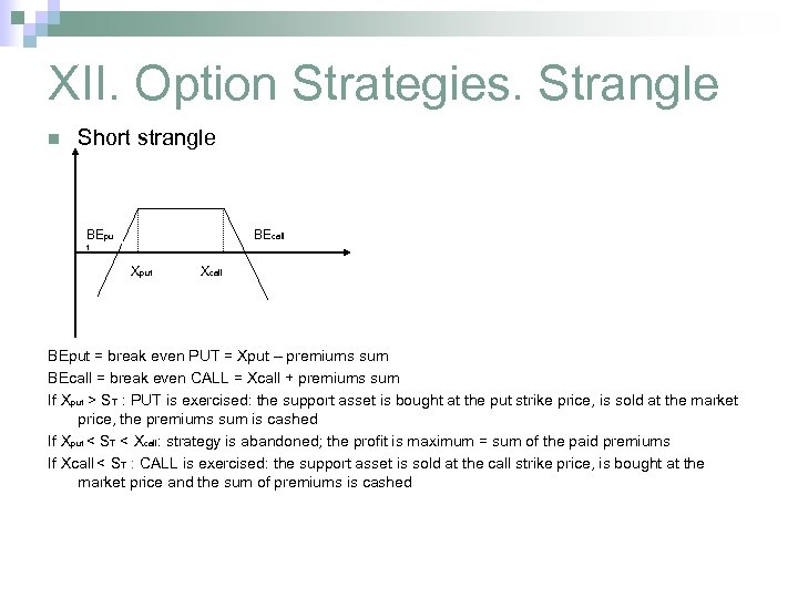 XII. Option Strategies. Strangle n Short strangle BEpu BEcall t Xput Xcall BEput =