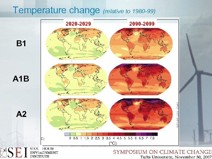 Temperature change (relative to 1980 -99) 2020 -2029 B 1 A 1 B A