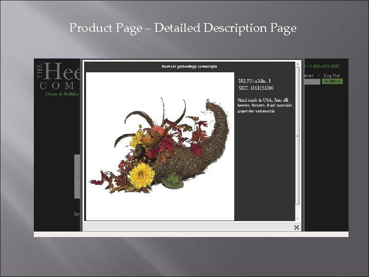 Product Page – Detailed Description Page