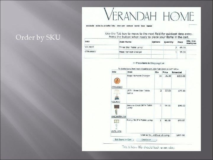 Order by SKU