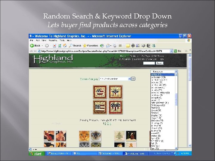Random Search & Keyword Drop Down Lets buyer find products across categories